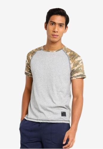 UniqTee grey Camo Sleeves Contrast Tee E9222AA0FDA641GS_1
