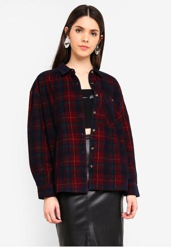 TOPSHOP red Petite Check Corduroy Shirt 2F8CCAA0B644D4GS_1