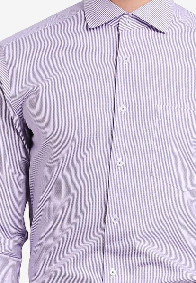 Sleeve G2000 Lavender Stripe Shirt Long wqZRxxpX
