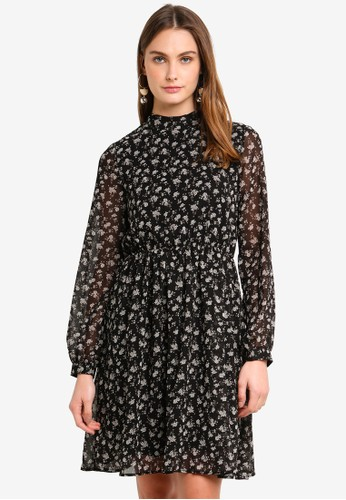 Vero Moda black Minna Long Sleeve Short Dress CC8DBAA53ED44BGS_1