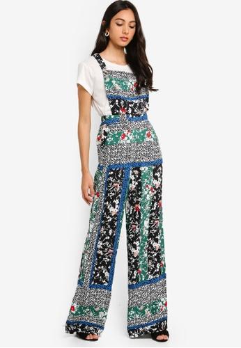 8041ff10d5b Miss Selfridge green Green Spliced Floral Print Pinafore Jumpsuit  B8819AA8B22EC3GS 1