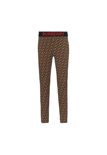 Burberry brown Burberry Monogram Print Stretch Jersey Leggings in Bridle Brown AC756AAFF6C8FCGS_1
