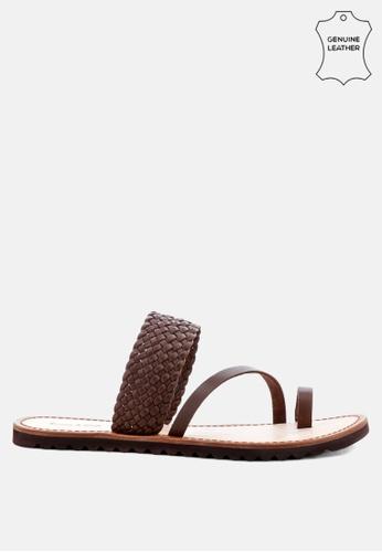 RAG & CO brown Braided Leather Flat Sandal FDD1DSHB11F6A0GS_1
