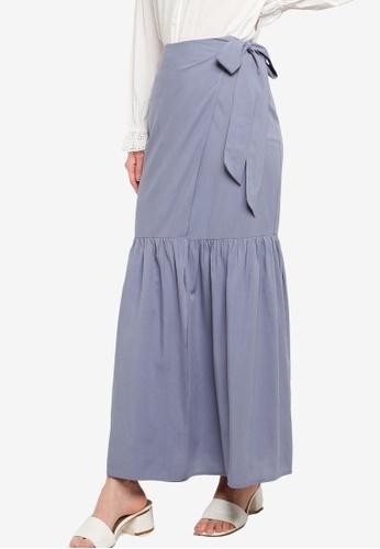 Zalia blue Gathered Wrap Skirt C121FAAE27283DGS_1