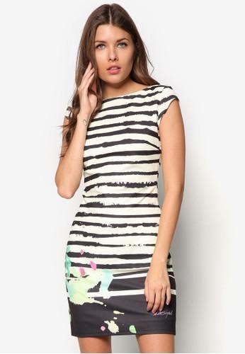 條紋印花貼身洋裝, 服飾, esprit outlet 家樂福緊身洋裝