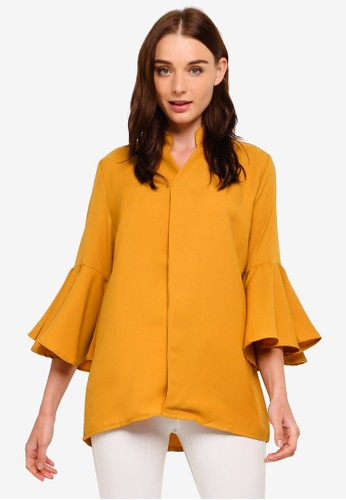 BYN yellow Pleated Bell Sleeve Top FEF9FAAF1A4F2FGS_1