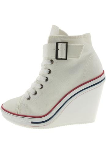 Maxstar Maxstar Women's 777 One Buckle Strap Canvas High Wedge Heel Sneakers US Women Size MA168SH91ZWYHK_1