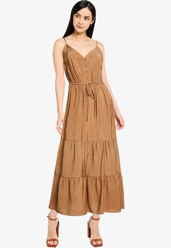 ONLY brown Sky Midi Strap Dress FE956AAB9BDA39GS_1