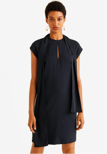 Mango blue Bow Neck Dress 3AEE5AA9ECEE7DGS_1