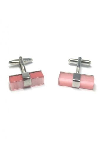 Splice Cufflinks pink and silver Pink Long Acrylic Bar Cufflinks SP744AC63FVCSG_1