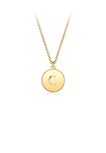 Glamorousky silver Fashion Simple Plated Gold Letter C Round Pendant with Necklace 61BC1ACFBD5246GS_1