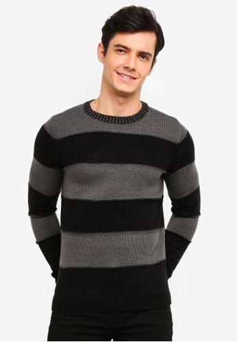 OVS 黑色 條紋針織Pullover BD635AA6987F98GS_1