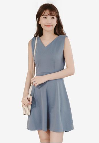 Eyescream grey and blue Back Button Flare Dress 6D629AA67AABB7GS_1