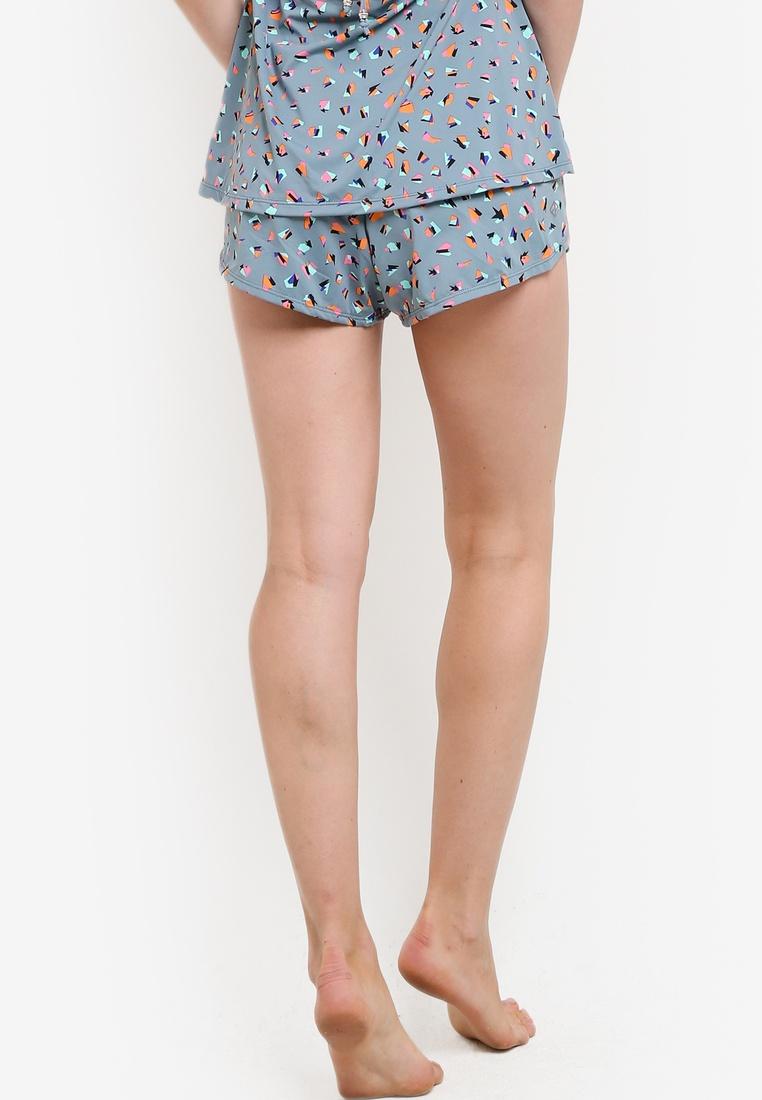 Multi Petal Funfit Blue Hem Shorts nUqzS7q