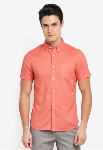 Burton Menswear London orange Short Sleeve Oxford Shirt 494BBAA45AEAB7GS_1