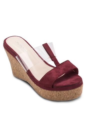 異材質拼接木製楔形鞋, 女鞋, 楔形涼esprit 眼鏡鞋