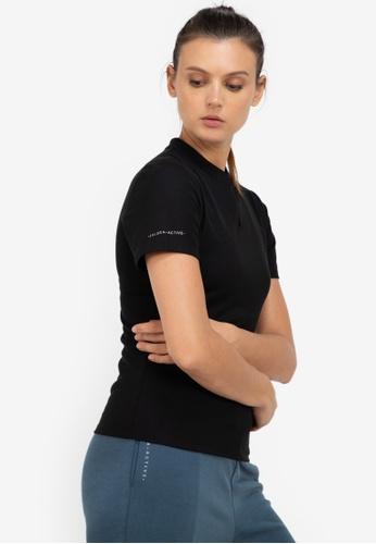 ZALORA ACTIVE black Mandarin Collar Polo Tee Top BA4AFAA73B37EEGS_1