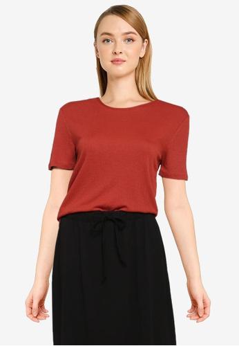 JACQUELINE DE YONG red Eva Short Sleeve Back Tie Top FA73CAAA7AC760GS_1