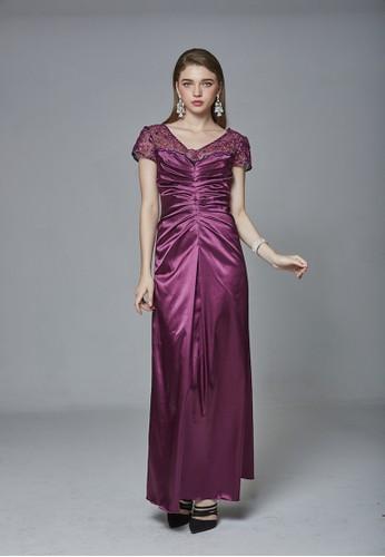 英式優雅亮片蕾絲拼接緞面長禮服尖沙咀 esprit, 服飾, 晚宴禮服