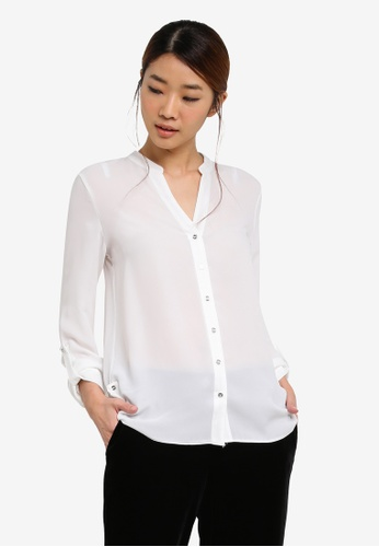 Dorothy Perkins white Ivory Collarless Shirt DO816AA0SF9KMY_1