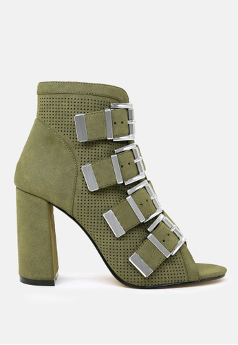 London Rag green Peep Toe Block Heel Sandal 277A6SH6D573C6GS_1