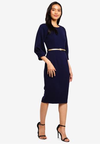 CLOSET navy Closet Pleated Sleeve Pencil Dress D2DF3AAD9AC37BGS_1