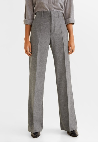 Mango grey Virgin Wool Trousers A985BAAFF3907FGS_1