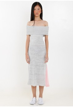 [PRE-ORDER] Off-shoulder Knitted Dress with Pleats
