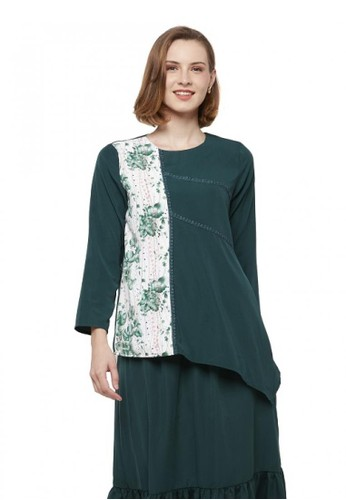 Aisaa Official white and green Sibela by Aisaa - Blouse Two Tone 19257AA24B46E8GS_1