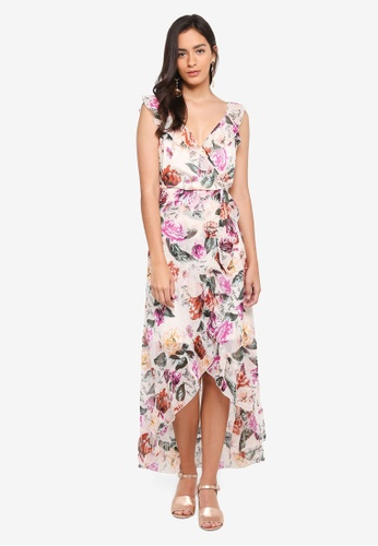 Dorothy Perkins white Floral Ruffle Wrap Maxi Dress F4E39AAEE4D252GS_1