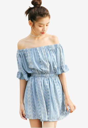 Shopsfashion blue Off Shoulder Playsuit C0425AA93981CCGS_1