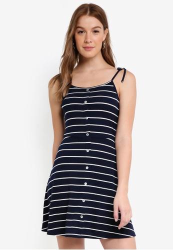 ZALORA white and navy Knit Cami Dress 1CDE4AA0888B07GS_1