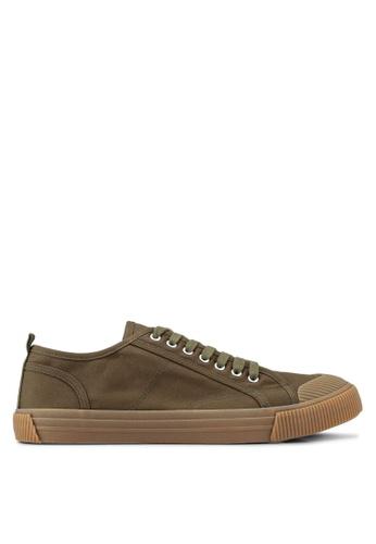 Burton Menswear London green Khaki Canvas Toe Bumper Plimsolls B23FDSHE9C60DDGS_1