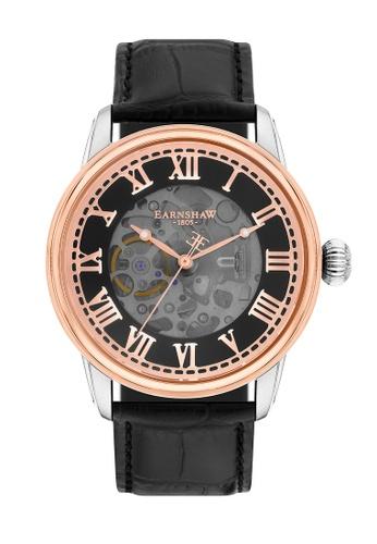 Thomas Earnshaw black Thomas Earnshaw Men's Genuine Leather Strap Watch - ES-8808-04 F44EBACA9980E4GS_1