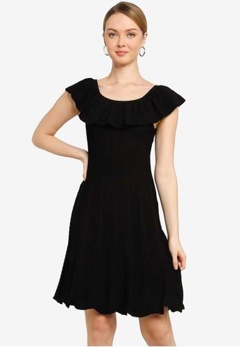 Saturday Club black Ruffled Knit Dress With Flouncy Hem 34654AA74D392AGS_1