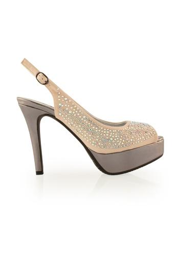 Gripz beige  Diamante Peep Toe Sling Back High Heels FBC50SH1543474GS_1