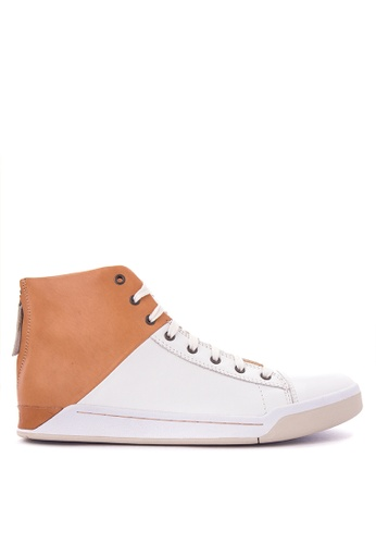 Diesel white and brown Tempus Emerald Sneakers DI095SH0K3TQPH_1