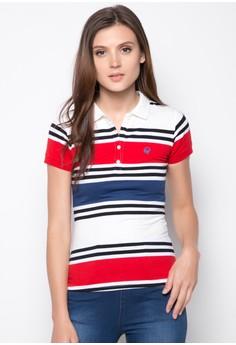 Slim Fit Engineered Stripes Polo Tee