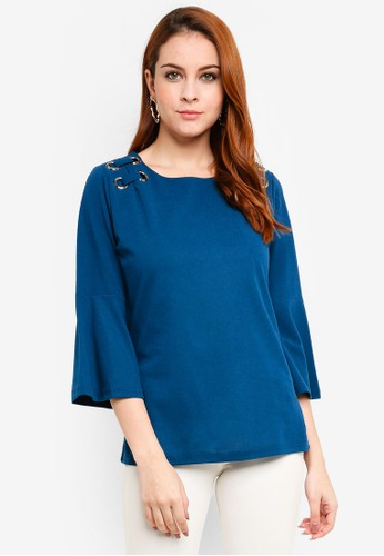 peace collections blue Lace Up Blouse 25224AAAF98960GS_1