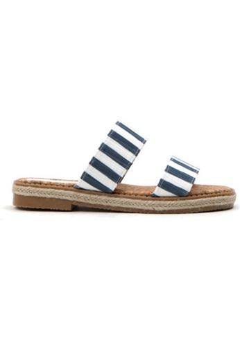 Crystal Korea Fashion blue Korean Summer Wild Striped Flat Slippers DEF40SH97843A8GS_1