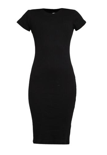 Supre black Rib Midi T-Shirt Dress 139FEAAB123761GS_1