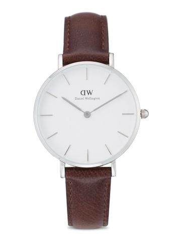 Daniel Wellington silver and brown Classic Petite Bristol Watch DA376AC48PMDMY_1