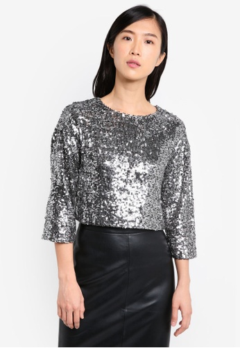 Miss Selfridge silver Sequin Embellished Top MI665AA0SS6OMY_1