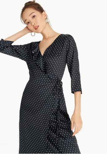Pomelo black Polka Dot Wrap Dress A93DCAAF5365F1GS_1