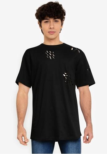 Brave Soul 黑色 刷破長版T恤 35E4CAAC4B690AGS_1