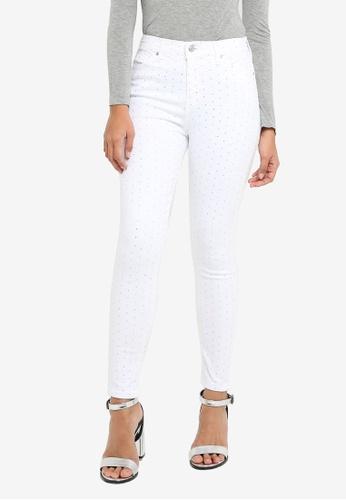 TOPSHOP white Moto White Diamante Jamie Jeans 6DDBEAA50CF7D5GS_1