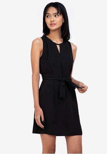 ZALORA BASICS black Keyhole Detail Mini Dress C0BE8AA087B3CEGS_1