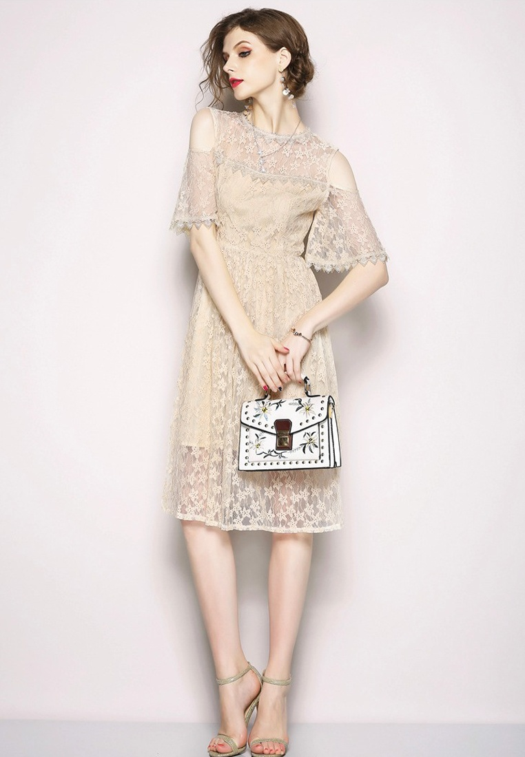 Dress 2018 Piece Lace Sunnydaysweety Beige One CA071870BE Shoulder New Open Beige naUwRaq0