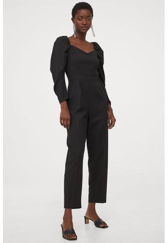 H&M black Sweetheart-neckline jumpsuit 9550DAA69CC86AGS_1