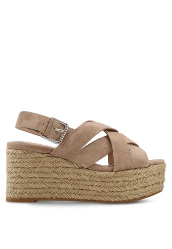 Mango grey Platform Leather Sandals ED27CSHDA4553EGS_1